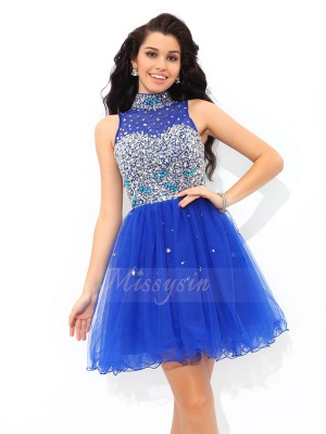 A-Line/Princess High Neck Sleeveless Net Short/Mini Beading Dresses