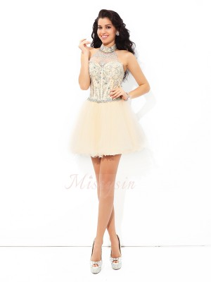 A-Line/Princess Halter Sleeveless Satin Short/Mini Beading Dresses