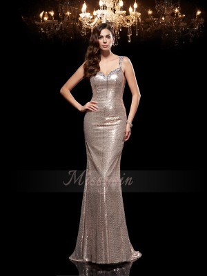 Sheath/Column Straps Sleeveless Sequins Sweep/Brush Train Beading Dresses