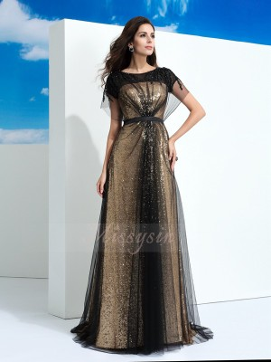 A-Line/Princess Sheer Neck Short Sleeves Net Floor-Length Paillette Dresses