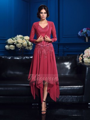 A-Line/Princess V-neck Sleeveless Chiffon Asymmetrical Applique Mother of the Bride Dresses