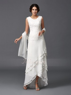 A-Line/Princess Scoop Sleeveless Chiffon Asymmetrical Mother of the Bride Dresses