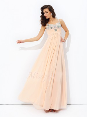A-line/Princess Spaghetti Straps Sleeveless Chiffon Floor-Length Beading Dresses