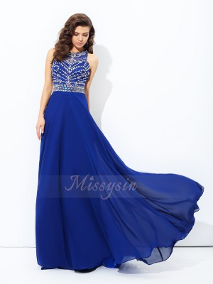 A-line/Princess Scoop Sleeveless Chiffon Floor-length Beading Dresses