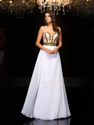 A-Line/Princess Sweetheart Sleeveless Chiffon Floor-Length Sequin Dresses