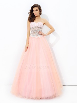 A-line/Princess Sweetheart Sleeveless Net Floor-length Dresses