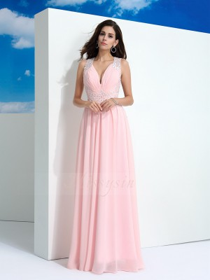A-Line/Princess Straps Sleeveless Chiffon Floor-Length Beading Dresses