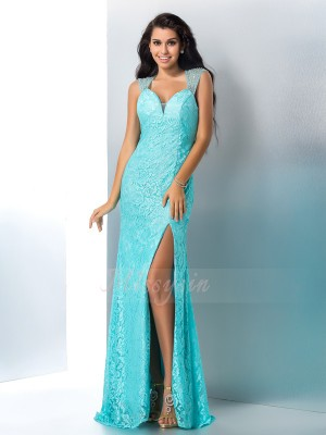 Trumpet/Mermaid Sweetheart Sleeveless Lace Floor-Length Beading Dresses
