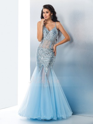 Trumpet/Mermaid Spaghetti Straps Sleeveless Organza Floor-Length Sequin Dresses