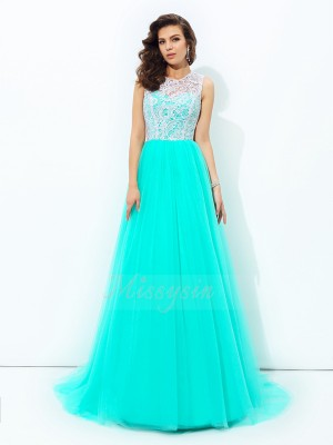 A-line/Princess Scoop Sleeveless Net Sweep/Brush Train Dresses