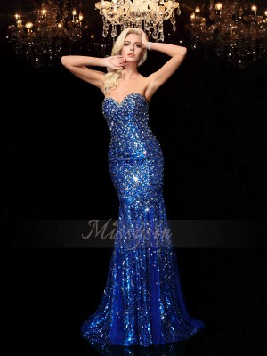 Trumpet/Mermaid Sweetheart Sleeveless Sequins Sweep/Brush Train Sequin Dresses