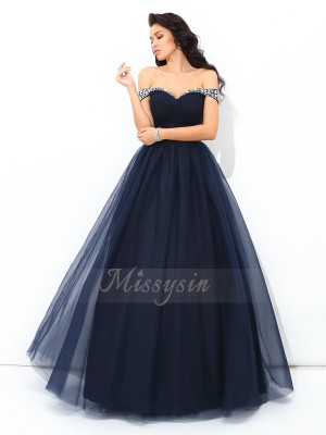Ball Gown Off-the-Shoulder Sleeveless Net Floor-Length Beading Quinceanera Dresses