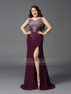 Sheath/Column Straps Sleeveless Chiffon Sweep/Brush Train Rhinestone Plus Size Dresses