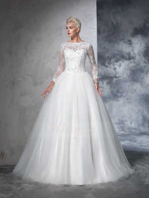 Ball Gown Bateau Long Sleeves Net Sweep/Brush Train Wedding Dresses