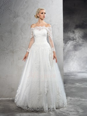 Ball Gown Off-the-Shoulder Long Sleeves Net Floor-Length Wedding Dresses