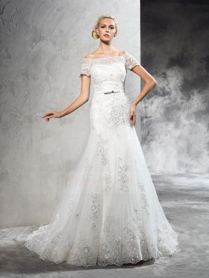 Sheath/Column Off-the-Shoulder Short Sleeves Net Court Train Applique Wedding Dresses