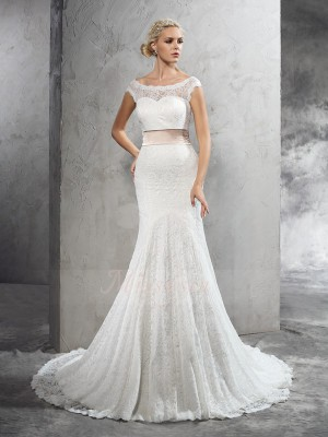 Sheath/Column Sheer Neck Sleeveless Lace Court Train Sash/Ribbon/Belt Wedding Dresses