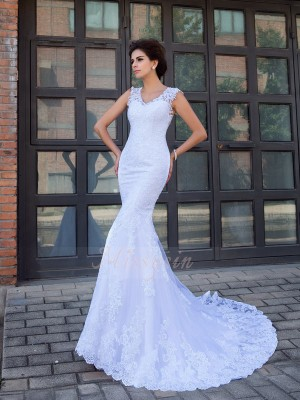 Trumpet/Mermaid V-neck Sleeveless Satin Chapel Train Applique Wedding Dresses