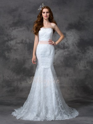 Trumpet/Mermaid Strapless Sleeveless Lace Court Train Sash/Ribbon/Belt Wedding Dresses