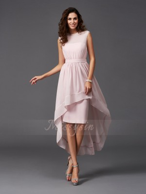 A-Line/Princess Scoop Sleeveless Chiffon Asymmetrical Sash/Ribbon/Belt Bridesmaid Dresses
