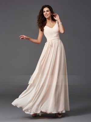 A-Line/Princess Straps Sleeveless Chiffon Floor-Length Sash/Ribbon/Belt Bridesmaid Dresses