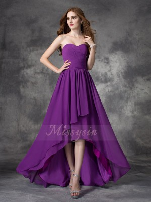 A-line/Princess Sweetheart Sleeveless Chiffon Asymmetrical Ruffles Bridesmaid Dresses