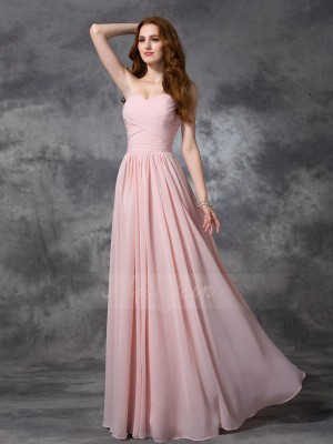 A-line/Princess Sweetheart Sleeveless Chiffon Floor-length Ruched Bridesmaid Dresses