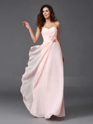 A-Line/Princess Sweetheart Sleeveless Chiffon Floor-Length Hand-Made Flower Bridesmaid Dresses