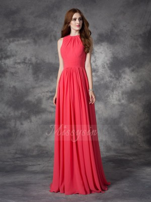 A-line/Princess Jewel Sleeveless Chiffon Floor-length Ruffles Bridesmaid Dresses