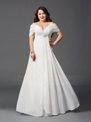 A-Line/Princess Off-the-Shoulder Short Sleeves Chiffon Floor-Length Ruched Plus Size Dresses
