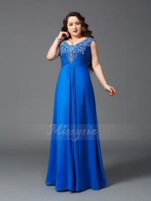 A-Line/Princess Straps Short Sleeves Chiffon Floor-Length Beading Plus Size Dresses