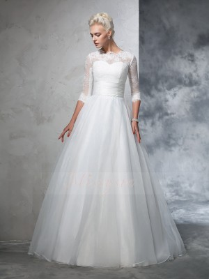 Ball Gown Jewel 3/4 Sleeves Organza Floor-Length Applique Wedding Dresses