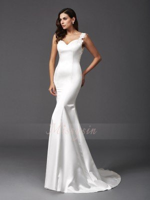 Trumpet/Mermaid Straps Sleeveless Satin Sweep/Brush Train Beading Wedding Dresses