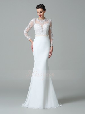 Trumpet/Mermaid Jewel Long Sleeves Satin Sweep/Brush Train Wedding Dresses