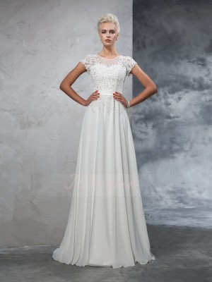 A-Line/Princess Sheer Neck Short Sleeves Chiffon Sweep/Brush Train Applique Wedding Dresses