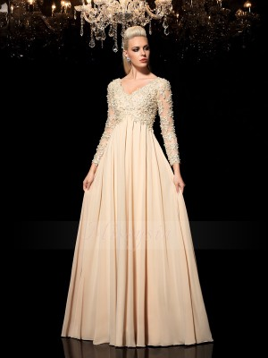 A-Line/Princess V-neck Long Sleeves Chiffon Floor-Length Applique Dresses