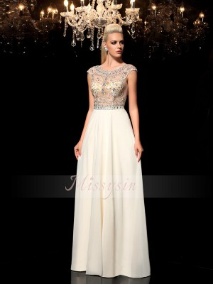 A-Line/Princess Sheer Neck Floor-Length Chiffon Sleeveless Rhinestone Dresses