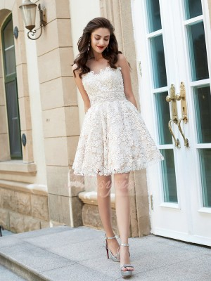 A-Line/Princess Sweetheart Short/Mini Lace Sleeveless Rhinestone Dresses