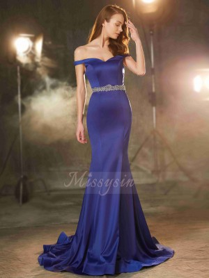 Trumpet/Mermaid Sweep/Brush Train Off-the-Shoulder Satin Sleeveless Crystal Dresses