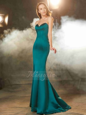 Trumpet/Mermaid Sweep/Brush Train Sweetheart Satin Sleeveless Ruched Dresses