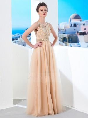 A-Line/Princess Floor-Length Scoop Tulle Sleeveless Beading Dresses