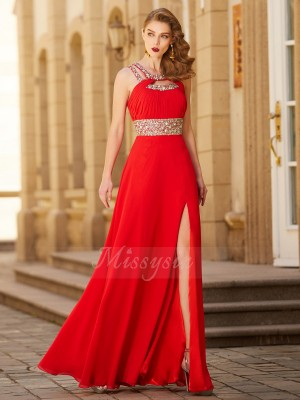 A-Line/Princess Floor-Length Scoop Chiffon Sleeveless Beading Dresses