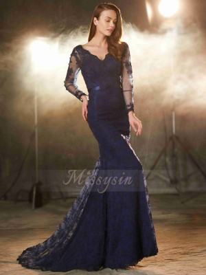 Trumpet/Mermaid Sweep/Brush Train V-neck Lace Sleeveless Applique Dresses