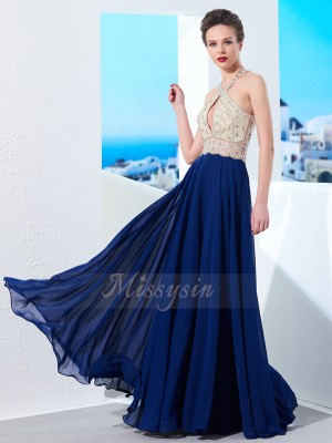 A-Line/Princess Floor-Length Straps Chiffon Sleeveless Beading Dresses