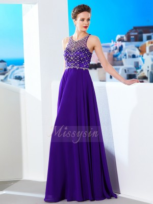 A-Line/Princess Floor-Length Scoop Chiffon Sleeveless Crystal Dresses