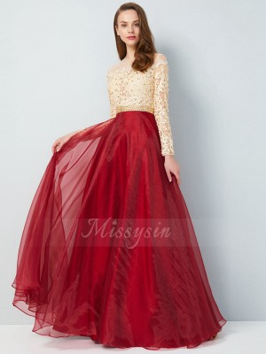 A-Line/Princess Floor-Length Sheer Neck Organza Long Sleeves Applique Dresses