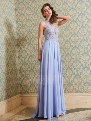 A-Line/Princess Floor-Length Scoop Chiffon Sleeveless Applique Dresses