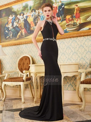 Sheath/Column Sweep/Brush Train High Neck Spandex Sleeveless Beading Dresses