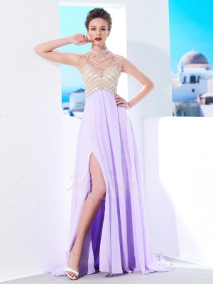 A-Line/Princess Sweep/Brush Train High Neck Chiffon Sleeveless Crystal Dresses