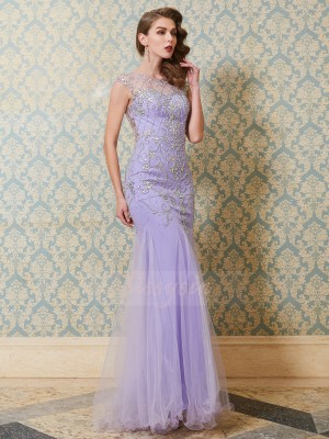 Trumpet/Mermaid Floor-Length Scoop Tulle Sleeveless Beading Dresses